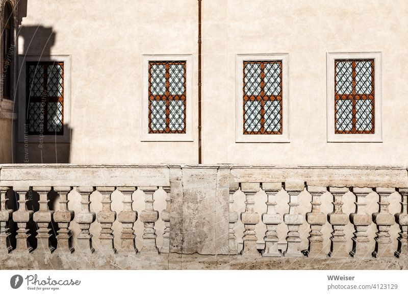 The light of Rome on the facade of the old Palazzo Light Shadow Facade Italy Historic balustrade Wall (building) Courtyard rail Stone Old Architecture