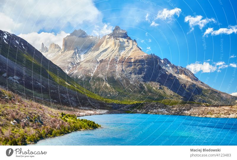 Lake Pehoe and Cuernos in Torres Del Paine National Park, Chile. landscape Patagonia Cuernos del Paine national park scenic South America scenery beautiful