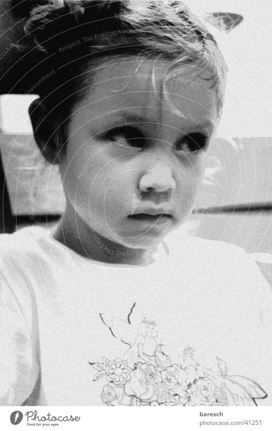 bee Girl Overpowered Child Black & white photo Fatigue Contrast