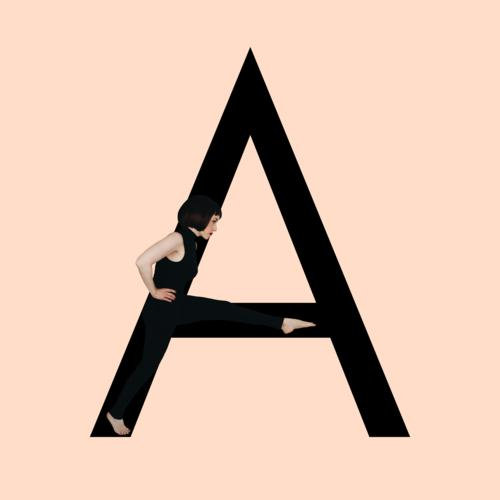 Graphic shows black letter A of the Latin alphabet against a skin-colored background and integrated photographic full-body shot of a posing brunette woman with bob hairstyle in black one-piece suit