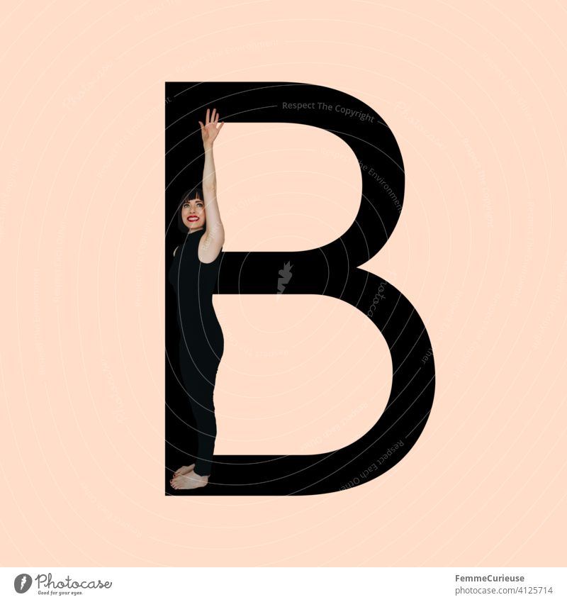 Graphic shows black letter B of the Latin alphabet against a skin-colored background and integrated photographic full-body shot of a posing brunette woman with bob hairstyle in black one-piece suit