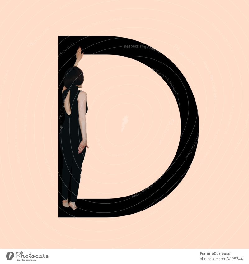 Graphic shows black letter D of the Latin alphabet against a skin-colored background and integrated photographic full-body shot of a posing brunette woman with bob hairstyle in black one-piece suit