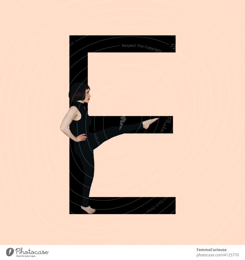 Graphic shows black letter E of the Latin alphabet against a skin-colored background and integrated photographic full-body shot of a posing brunette woman with bob hairstyle in black one-piece suit