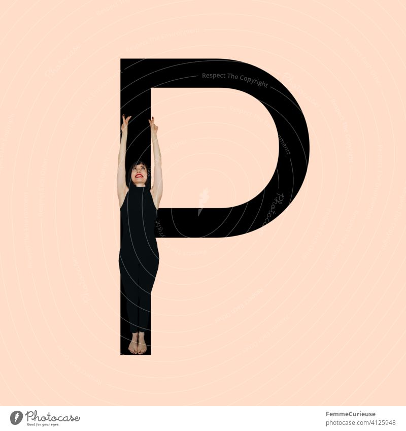 Graphic shows black letter P of the Latin alphabet against a skin-coloured background and integrated photographic full-body shot of a posing brunette woman with bob hairstyle in black one-piece suit