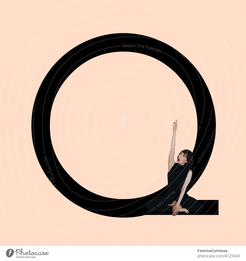 Graphic shows black letter Q of the Latin alphabet against a skin-colored background and integrated photographic full-body shot of a posing brunette woman with bob hairstyle in black one-piece suit