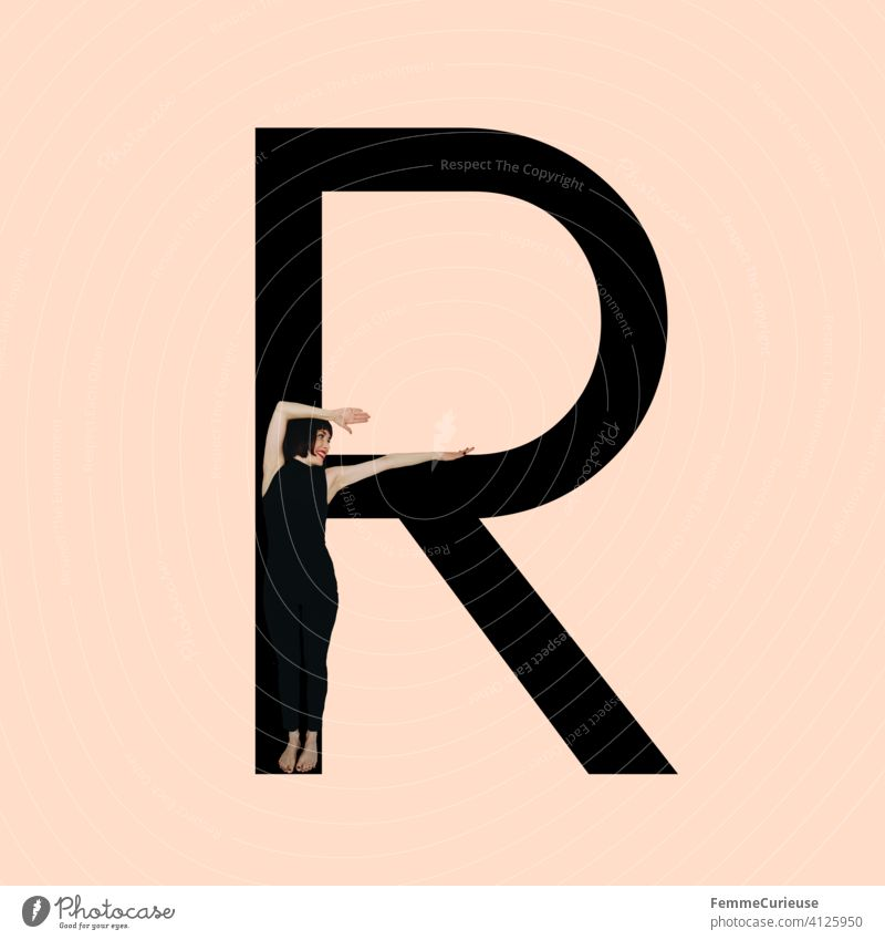 Graphic shows black letter R of the Latin alphabet against a skin-colored background and integrated photographic full-body shot of a posing brunette woman with bob hairstyle in black one-piece suit