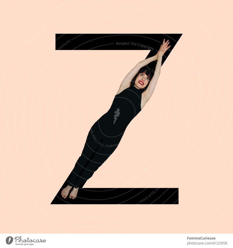 Graphic shows black letter Z of the Latin alphabet against a skin-colored background and integrated photographic full-body shot of a posing brunette woman with bob hairstyle in black one-piece suit