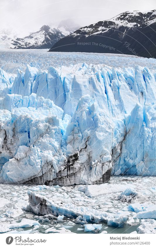 Ice calving from the terminus of the Perito Moreno Glacier in Patagonia, Argentina. glacier melt climate change environment polar nature ice Antarctica warming