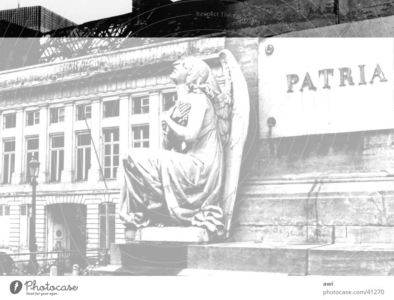 City of Angels Monument War monument Ruin Classicism Brussels Architecture Marble Black & white photo