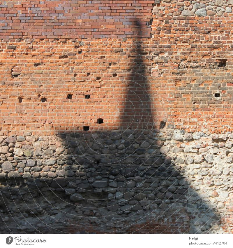 Old Red Black Wall (building) Senior citizen Wall (barrier) Architecture Building Gray Stone Exceptional Large Authentic Stand Simple Tower
