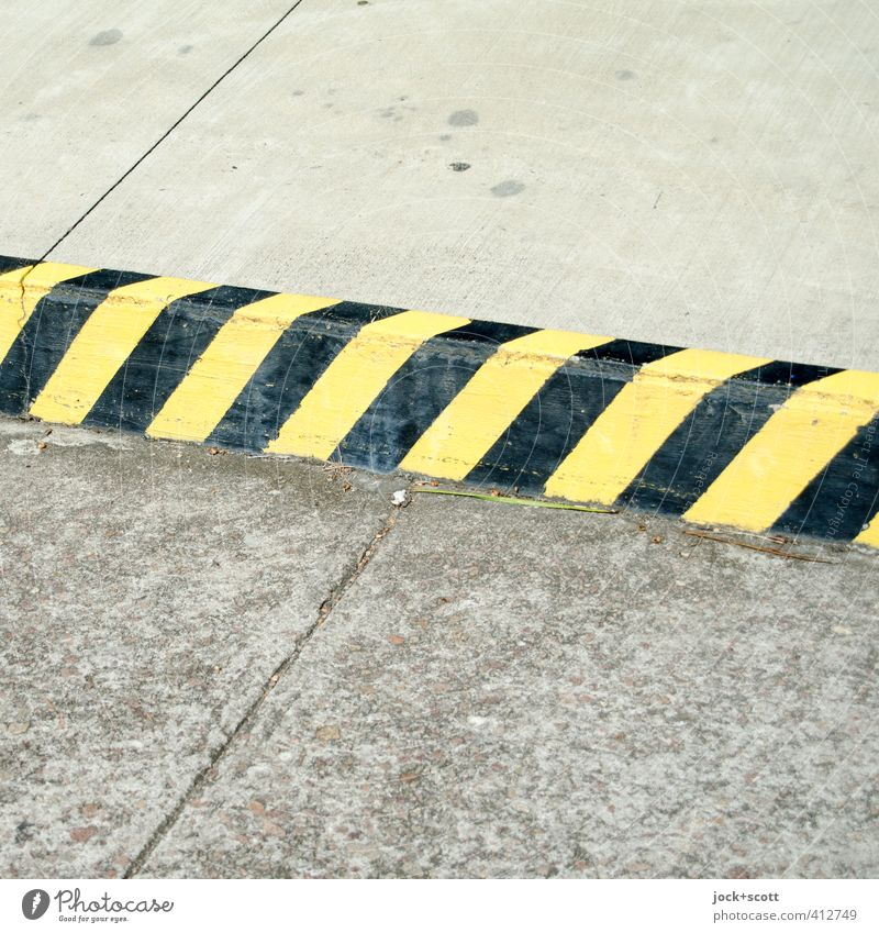 no-parking zone R Traffic infrastructure Road traffic Street Roadside Concrete Road sign Sharp-edged Simple Bans Clearway Curbside Striped Seam Surface