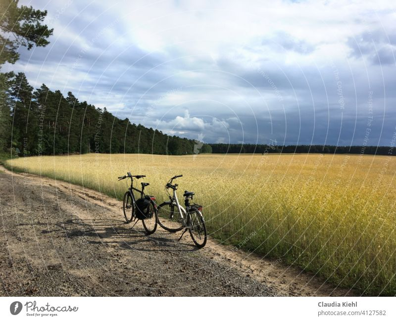 Bicycles at the edge of the field Cycling Exterior shot Sports Cycling tour Leisure and hobbies Athletic Mobility Lanes & trails Trip Cycle path Movement
