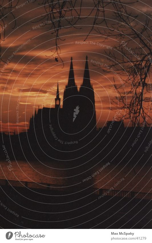 The Cologne Cathedral as a silhouette Night Architecture Dome Rhine