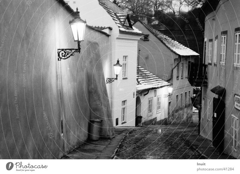 Prague House (Residential Structure) Europe Black & white photo Evening Street TIF Kafka