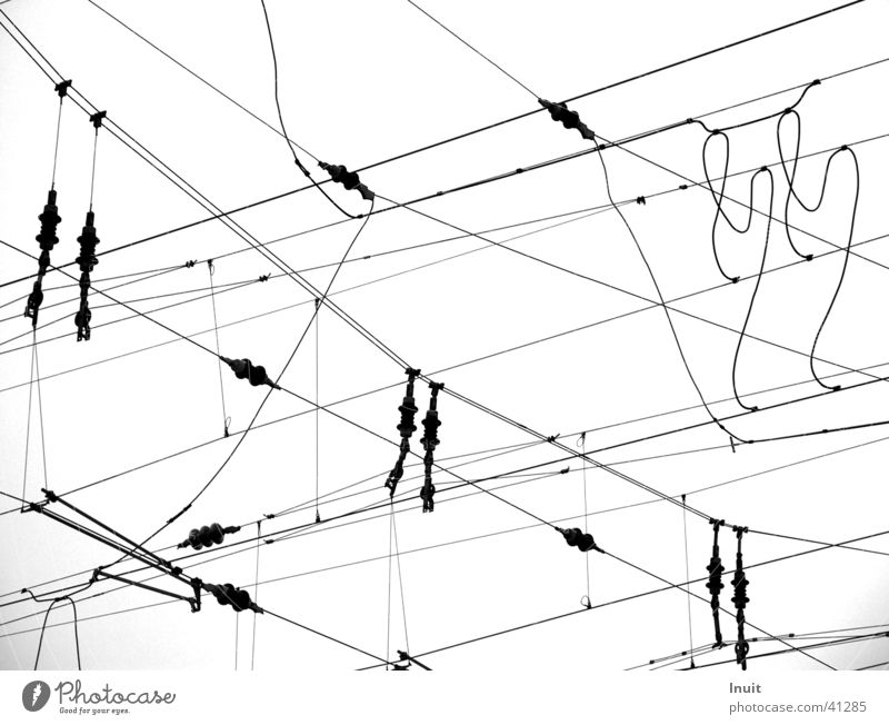 catenary wire Electricity Railroad Electrical equipment Technology Black & white photo Line TIF