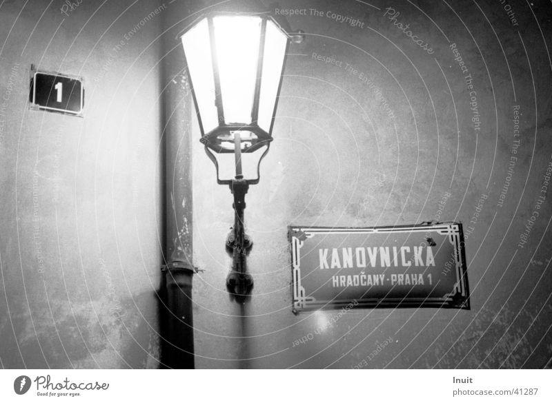 lantern Street lighting Prague Street sign Night Obscure Black & white photo TIF Kafka