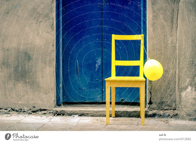 'Party's over' Blue City Loneliness Joy Yellow Wall (building) Wall (barrier) Feasts & Celebrations Dirty Door Lifestyle Birthday Living or residing Happiness