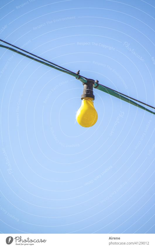 just a little light Electric bulb Lamp Street lighting Light Illuminate colored Illuminant Summer Yellow Blue Bright uncharitably Unadorned Naked Cold Lighting