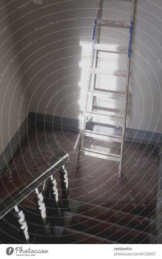 Handyman in the house sales Descent Downward Old building ascent Upward rail House (Residential Structure) Apartment house Deserted apartment building Stage