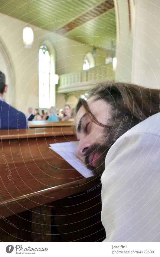 if the bride doesn't come... Man Beard Young man Wedding Church Wait Long-haired good-looking tired Sleep Masculine Face Bride Human being Adults Bride groom