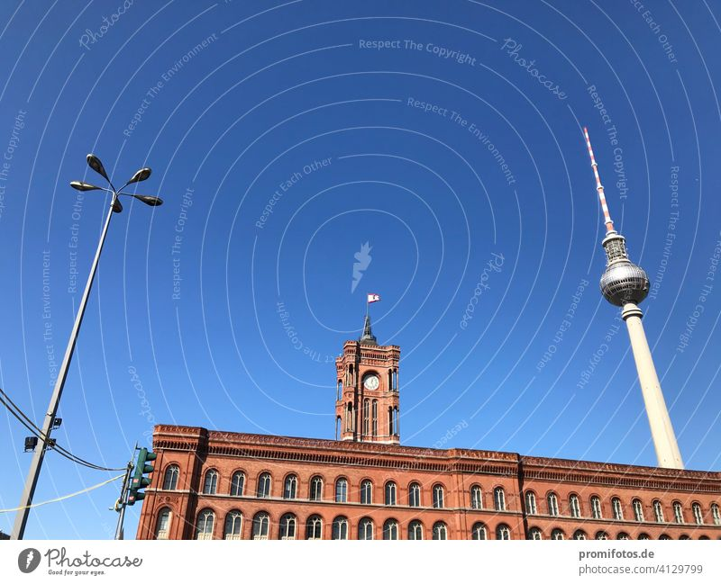Spring over Berlin with Red City Hall and TV Tower / Photo: Alexander Hauk City hall Building Television tower Landmark Sky Deserted Traffic light Lighting