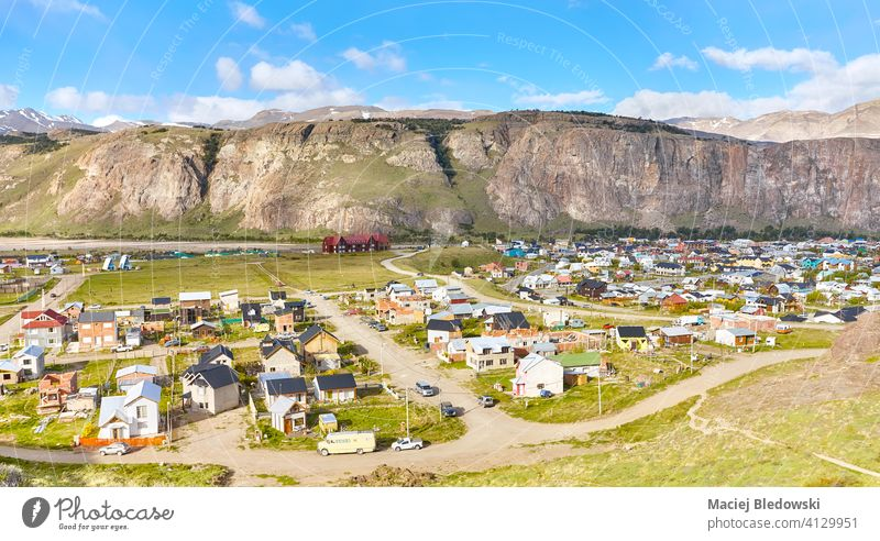 Aerial view of El Chalten, Argentina Patagonia village aerial landscape street house mountain town America park national Fitz Roy climbing south sky cliff Andes