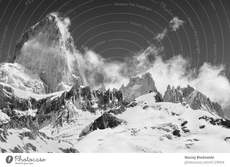 Black and white picture of Monte Fitz Roy, Patagonia. mountain top black and white snow landscape rock beautiful B&W Los Glaciares National Park Chile Argentina