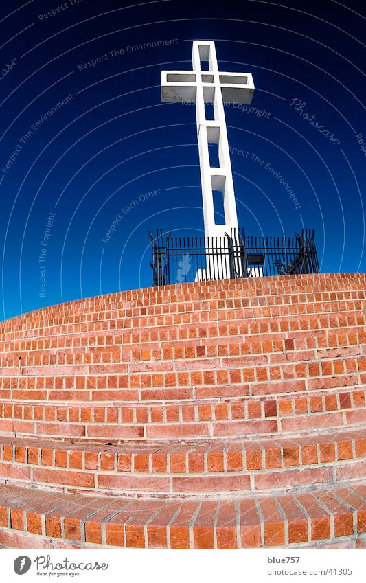 Sky White Blue Red Black Architecture Back Stairs Brick Fence Beautiful weather Grating War monument