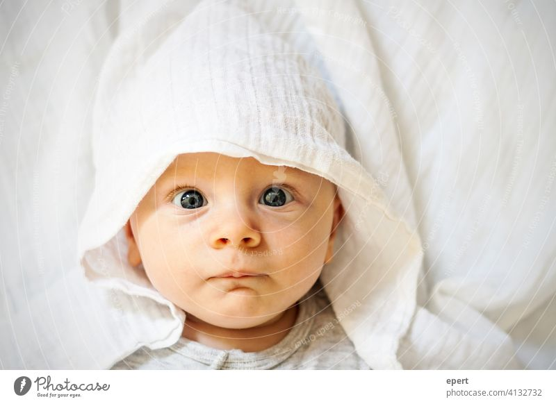 What are you looking at?! Baby eyes Child Rag Cap portrait cute pretty Small expectant astonished