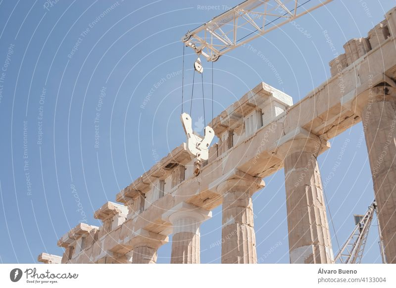 Detail of the columns and ruins of the ancient Greek acropolis, in the center of Athens, example of classical architecture. greece mediterranean europe