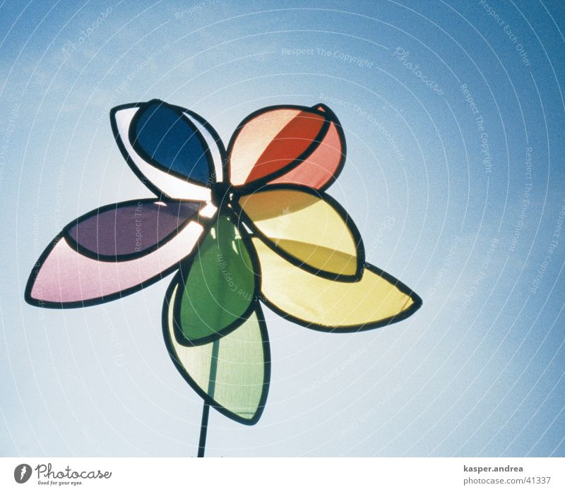 Air Toys Cloudless sky Pinwheel Blue sky Object photography Play of colours Colour tone RGB CMYK Bright background