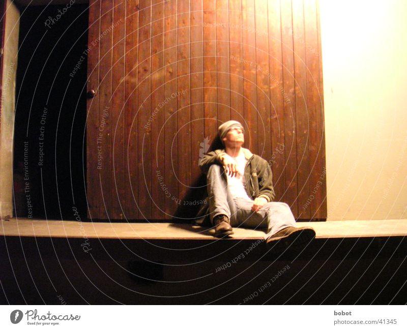 Man Loneliness Cold Relaxation Above Wood Think Wait Door Sit Jeans Posture Lie Gate Cap Idea