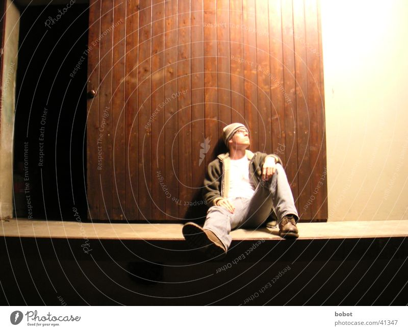 Man Loneliness Cold Relaxation Above Wood Think Wait Door Sit Jeans Posture Lie Gate Cap Idea