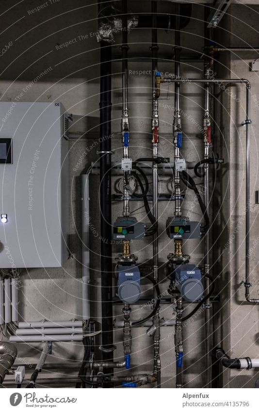Installation V reeds installation Industry Deserted Industrial plant House (Residential Structure) Cellar Heating heating engineering heat pump