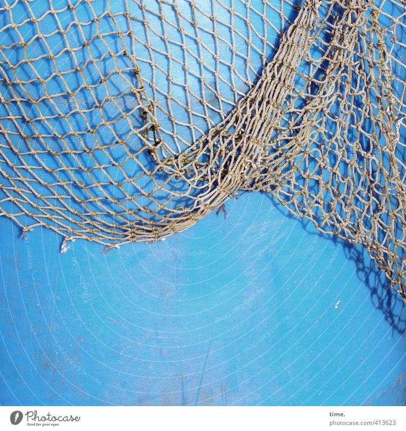 Hiddensee | Sailor Yarn Work and employment Harbour Fishery Navigation Network Maritime Keg Hollow Plastic Hang Broken Crazy Blue Gray Diligent Senior citizen