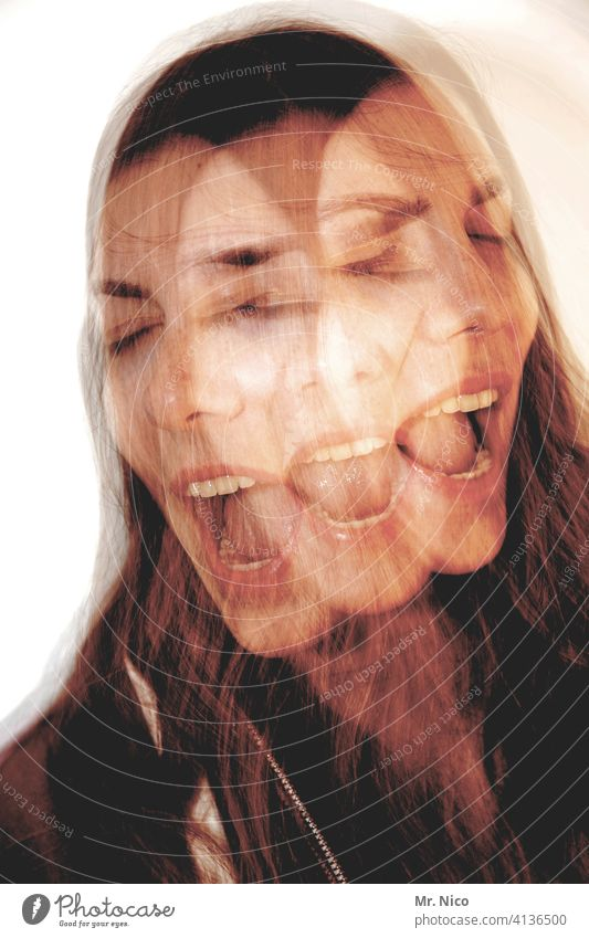 shouting Madness Double exposure Abstract Exceptional portrait Experimental Whimsical Delusion Schizophrenia Face Fantasy Nightmare Multiple Personality