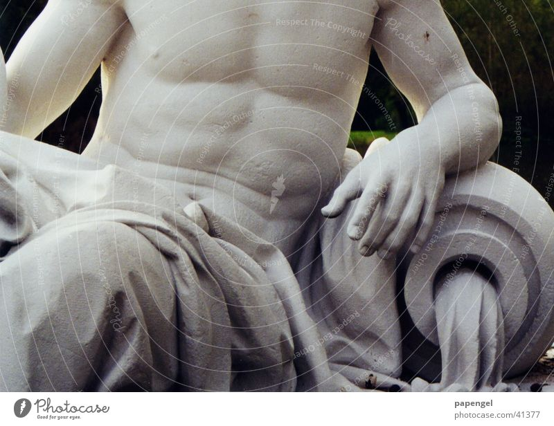 old washboard stomach Sculpture Poseidon Masculine Exhibition Trade fair Marble Stomach Musculature