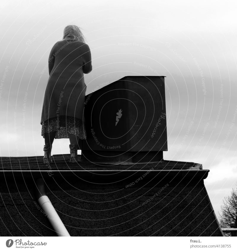 A woman stands on the roof Roof House (Residential Structure) Sky Tree Woman Blue Chimney Downpipe Skirt Winter Coat Back Cold depression sorrow curious
