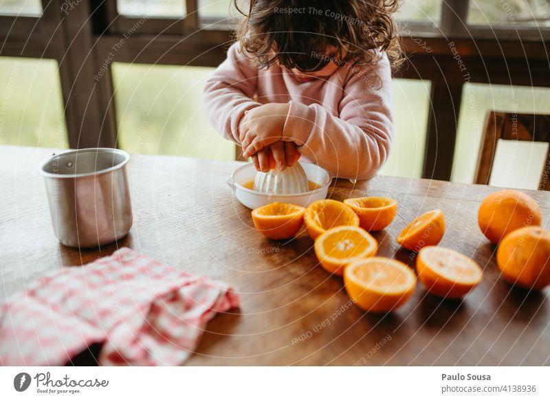 Child making orange juice at home 1 - 3 years Caucasian Orange Orange juice Colour photo Human being Juice Infancy Fruit Healthy childhood Juicy Food