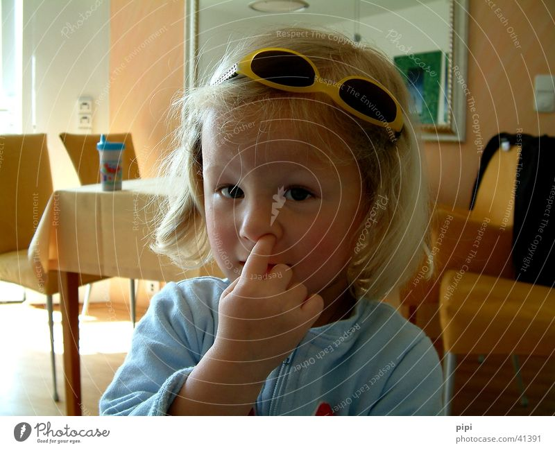 marie_I Child Portrait photograph Eyeglasses Fingers Nose Funny