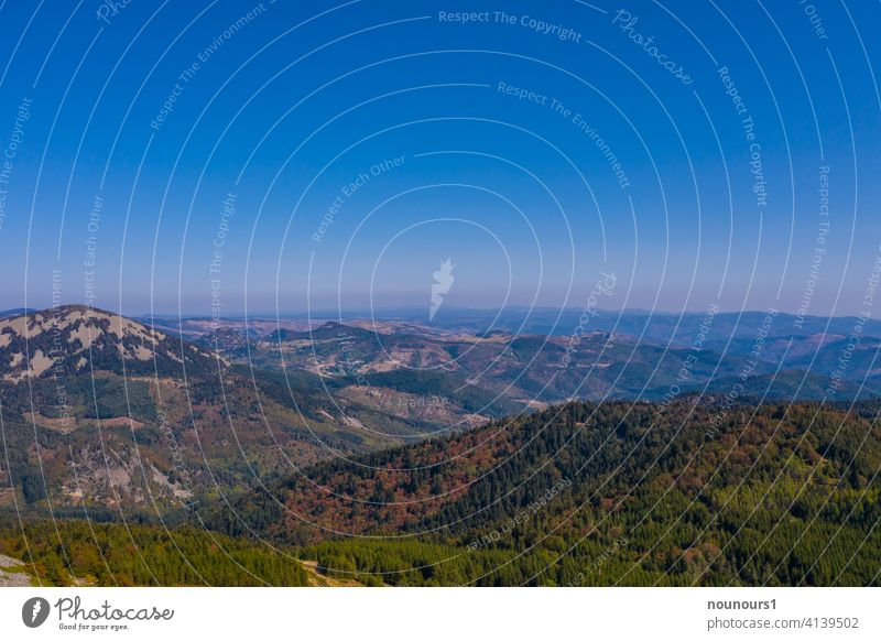Landscape of the Ardeche in automn france ardeche southern holiday vacation europe french region mountains panorama commune vegetation conchy building scene