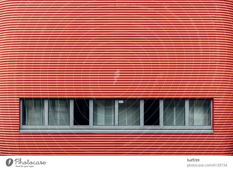 red striped facade with row of windows Red Striped Corrugated iron wall Window with red stripes Wall (building) red facade Facade Minimalistic
