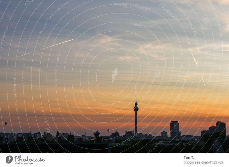 Skyline Berlin at dusk Television tower Twilight Berlin TV Tower Capital city Landmark Tourist Attraction Downtown Town Architecture Downtown Berlin