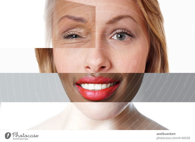 composite face made of multi-ethnic women of different ages people diversity collage mixed race multiethnic montage portrait creative person composition female