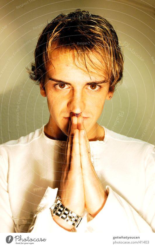 Man Hand Face Eyes Dark Head Brown Bright Clock Audience Prayer Shoulder Strand of hair South American Southern