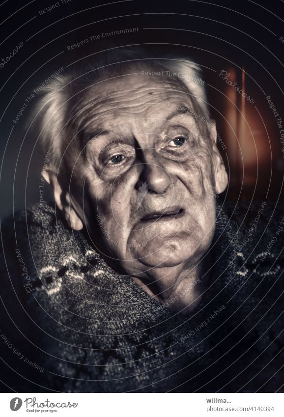 Grandpa tells about the war Senior citizen Man age portrait Old man Pensioners Male senior Grandfather Face Remember ponder anxious Concern Belief Retirement