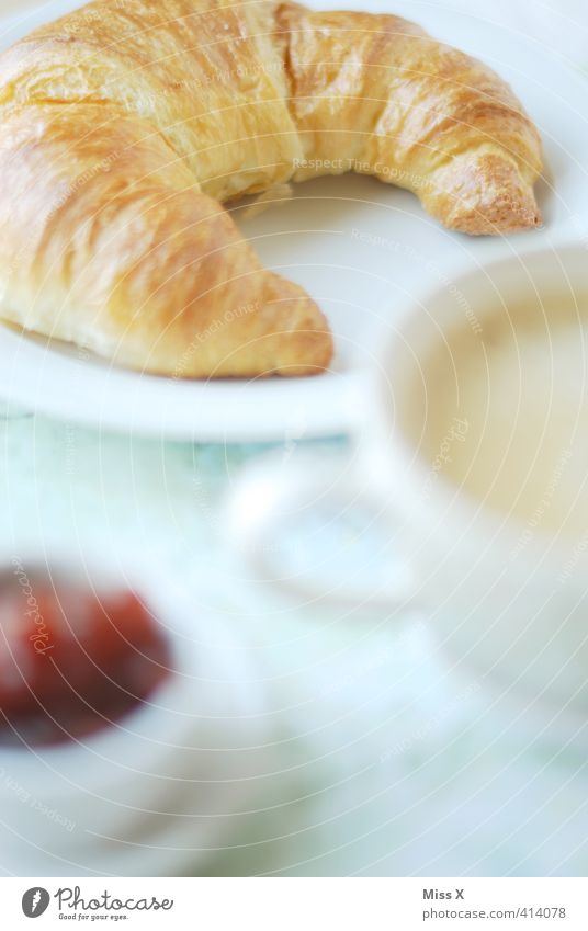 croissant Dough Baked goods Croissant Jam Nutrition Breakfast To have a coffee Buffet Brunch Hot drink Coffee Latte macchiato Delicious Sweet Appetite