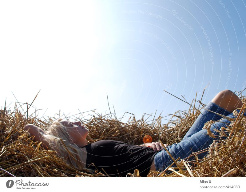 Woman in straw Wellness Harmonious Well-being Contentment Relaxation Calm Meditation Trip Freedom Summer Sun Sunbathing Human being Feminine Young woman