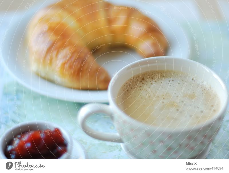 Coffee to bed Food Croissant Jam Nutrition Breakfast To have a coffee Buffet Brunch Beverage Hot drink Crockery Cup Delicious Sweet Breakfast table