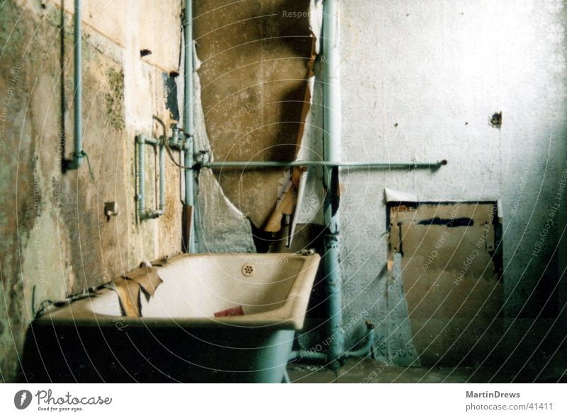 old bath House (Residential Structure) Bathroom Old Broken Blue Decline Past Transience Second-hand Forget Colour photo Interior shot Deserted
